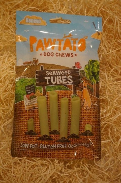 Vegetarian, Vegan & Gluten free Dog treats Pawtato Sweet Potato & Seaweed Tubes